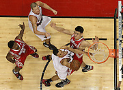 Brandon Roy scores over Yao Ming in the second half of the game 2 of the Blazers Rockets Round 1 playoff series.