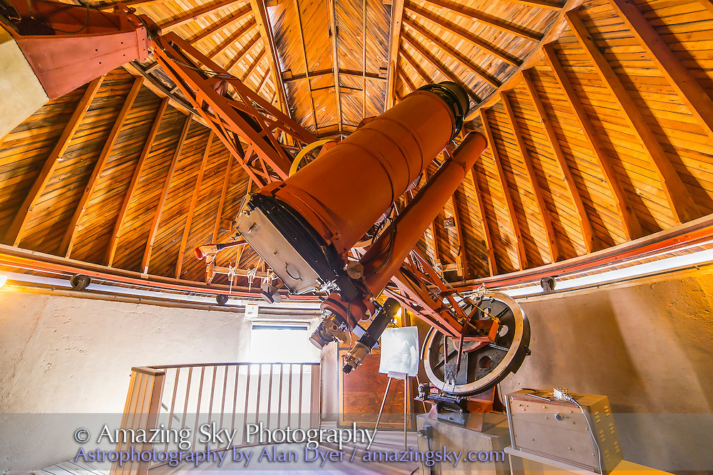 "The 13-inch Astrograph built for the search for Pluto, that Clyde Tombaugh used to find the ""new planet"" in 1930. Tombaugh used this instrument, now an historic site at the Lowell Observatory, to take images of the sky on glass plates which he developed in the darkroom one floor below. He used the blink comparator to compare plates take on different nights to look for objects that moved."