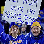 A fan during the game between Delaware and New Hampshire holding up a Sports Center Sign. No. 5 Delaware defeats No.11 New Hampshire 16-3 on a brisk Friday night at Delaware stadium in Newark Delaware...Delaware will host the Division I FCS Championship Semifinals Round next weekend.