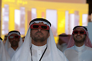 Saudi men watch an interactive 3-d display during the King Abdullah University of Science and Technology (KAUST) Inauguration Ceremony September 23, 2009 in Thuwal, Saudi Arabia (about 80 Kilometers north of Jeddah.) The University will act as a living laboratory by demonstrating that environmentally responsible methods of energy use, materials management, and water consumption are viable in the Middle East and across the globe. (Photo by Scott Nelson).