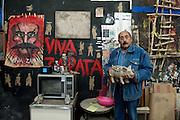 Painter and sculptor Alvaro Blancarte in his studio at the University of Baja California in Tecate, Baja California, Mexico.<br /> <br /> &copy; Stefan Falke<br /> www.stefanfalke.com<br /> La Frontera: Artists along the US Mexican Border