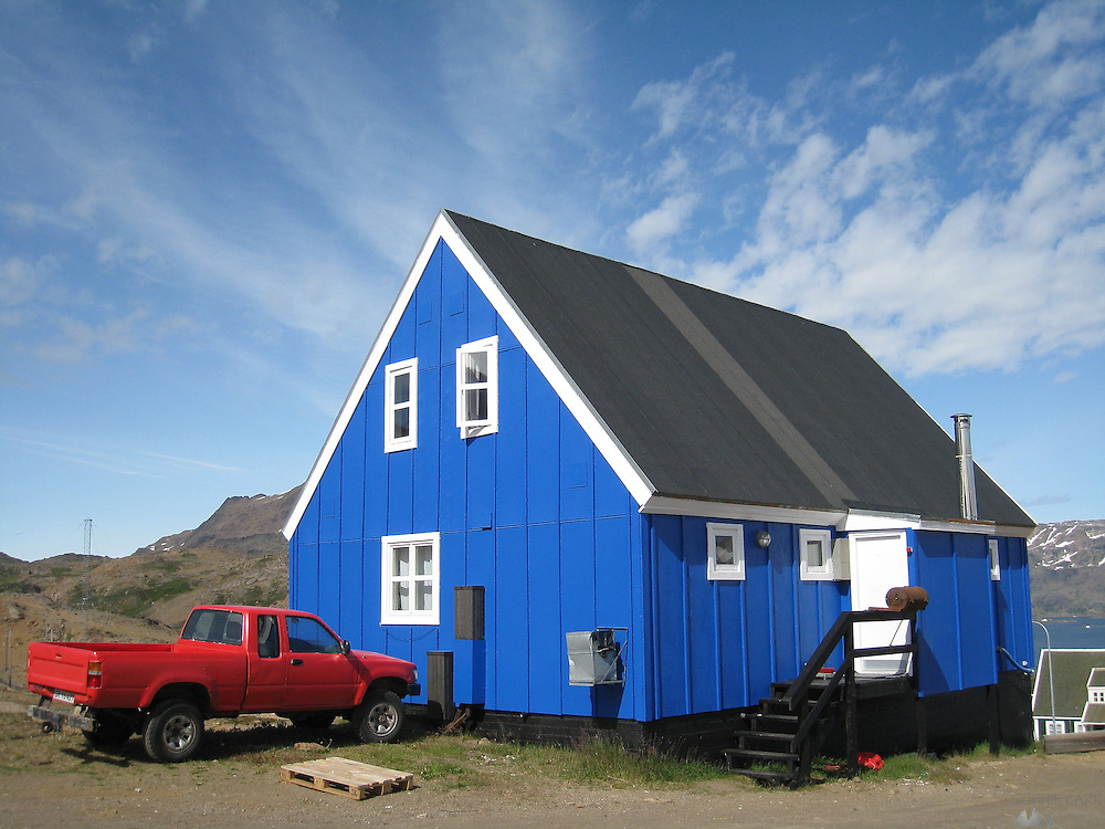 One of the brightly-coloured houses in Tasiilaq, South-eastern Greenland