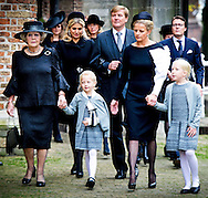 2-11-2013 DELFT - Princes Beatrix, Queen Maxima  and King Willem Alexander and princes Mabel .  Family, friends, acquaintances and colleagues of the deceased on August 12 Prince Friso come Saturday afternoon at the Old Church in Delft to commemorate him. Crown Prince Haakon of Norway come and his sister Princess Märtha Louise. COPYRIGHT ROBIN UTRECHT