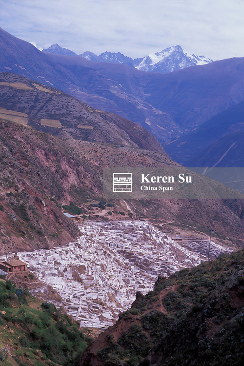 Landscape of salt pans of Salinas in the mountain, Sacred Valley, Peru