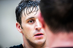 Concentration on the student's face. Franklyn Hartkamp takes the Institute Of Krav Maga Scotland grading today at Stirling.<br /> &copy;Michael Schofield.