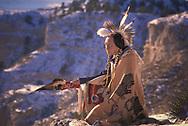 Fully released, Lakota Elder Ron Hawks at Scotts Bluff, Nebraska, USA