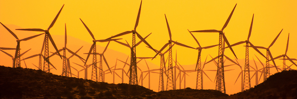 A sea of wind turbine silhouettes in Beaumont Pass near Palm Springs, CA