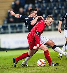Falkirk's Sean Higgins and Raith Rovers's Allan Walker..Falkirk 1 v 1 Raith Rovers, 5/3/2013.
