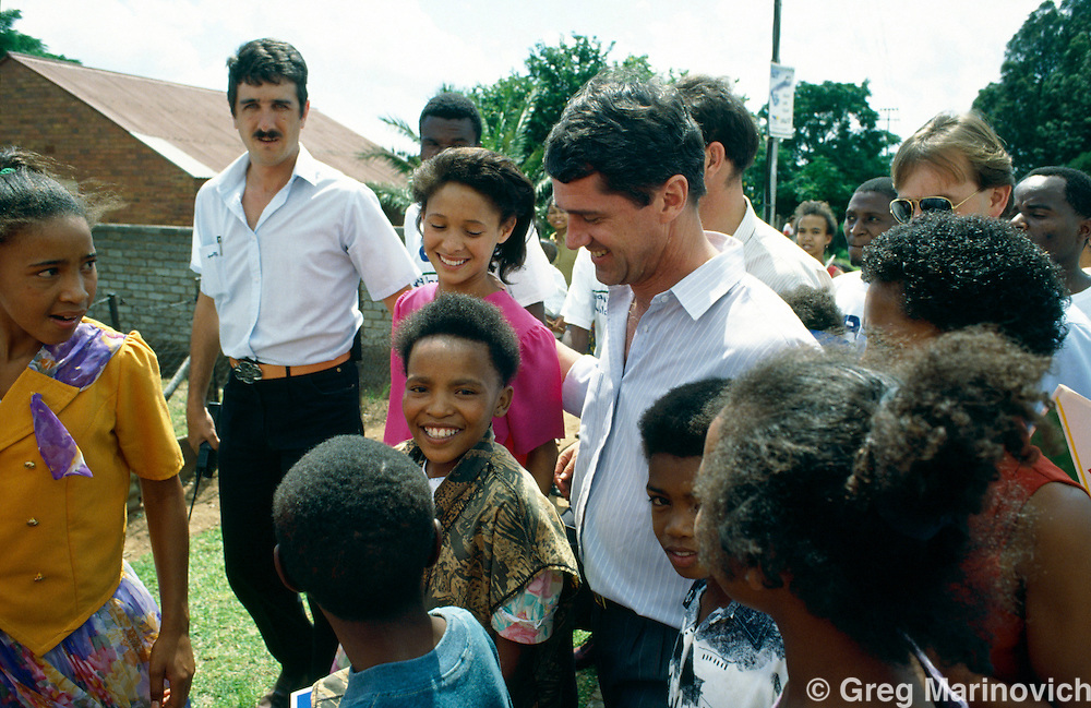 South Africa, 1994: National Party MP and reformer Roelf Meyer during the 1994 election campaign