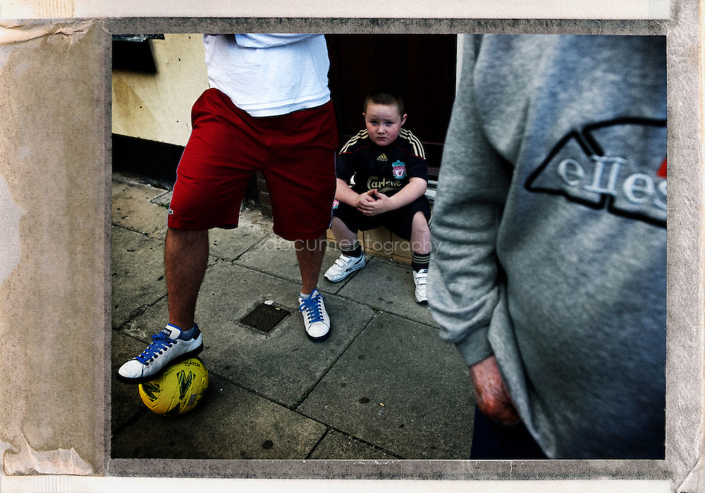 Connor Thompson and his neighbours in his deserted street near Liverpool FC Stadium...OLYMPUS DIGITAL CAMERA