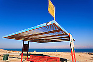 A bus stop on Highway 90 at the Ein Gedi oasis nature preserve on the western Dead Sea coast. WATERMARKS WILL NOT APPEAR ON PRINTS OR LICENSED IMAGES.