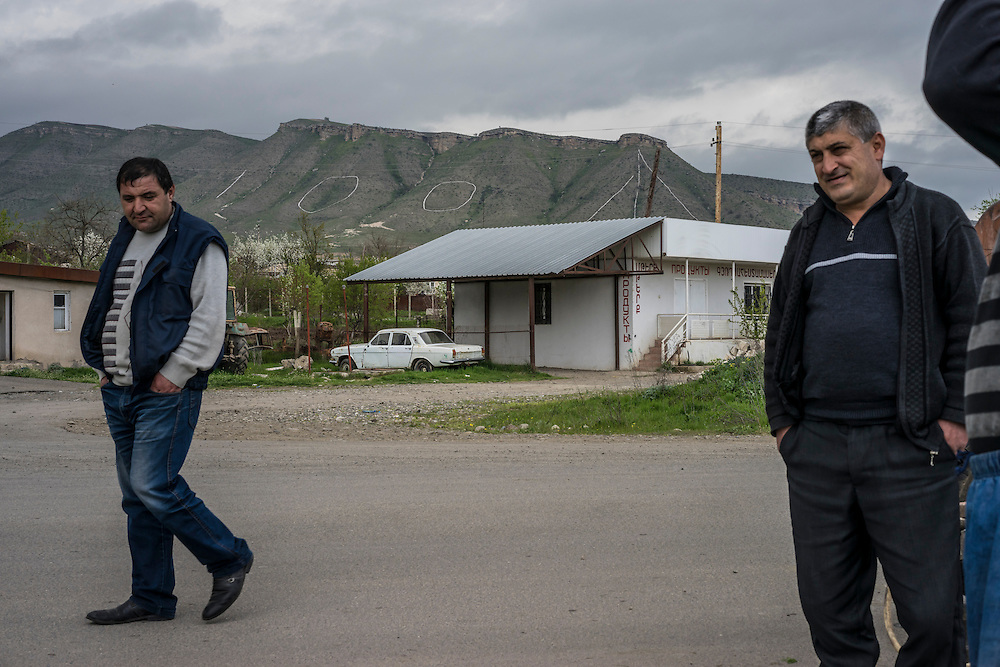 IVANYAN, NAGORNO-KARABAKH - APRIL 21: The number 100 is written on a hillside using painted stones placed by local soldiers to mark the one hundredth anniversary of the Armenian genocide on April 21, 2015 in Ivanyan, Nagorno-Karabakh. Since signing a ceasefire in a war with Azerbaijan in 1994, Nagorno-Karabakh, officially part of Azerbaijan, has functioned as a self-declared independent republic and de facto part of Armenia, with hostilities along the line of contact between Nagorno-Karabakh and Azerbaijan occasionally flaring up and causing casualties. (Photo by Brendan Hoffman/Getty Images) *** Local Caption ***