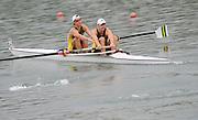 Ottensheim, AUSTRIA.   AUS, JM2-,  Bow, IRyan EDWARDS and Matthew DIGNAN, move away from  the start, 2008 FISA Senior and Junior Rowing Championships,  Linz/Ottensheim. Thursday,  24/07/2008.  [Mandatory Credit: Peter SPURRIER, Intersport Images] Rowing Course: Linz/ Ottensheim, Austria