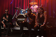 August 20, 2012-New York, NY: (L-R) Recording Artist Ryan Leslie and Idle Warship (Res & Talib Kweli) perform at the Idle Warship Concert featuring Talib Kweli & Res Produced by Jill Newman Productions and held at the Highline Ballroom on August 19, 2012 in New York City. A collaboration between longtime friends, hip-hop luminary Talib Kweli and critically acclaimed soulful singer and songwriter Res, Idle Warship is a perfect example of how a whole can become greater than the sum of its parts. Idle Warship was born out of sheer experimentation in the studio and have become one of the premiere live bands in the U.S. (Terrence Jennings)
