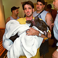 """fragm """"Dog Put Down""""-Paul Gonyea walks out of The """"Beverly(Massachusetts)Animal Hospital"""" after authorities made him put down his Pitbull """"Floyd"""" after a number of attack complaints."""
