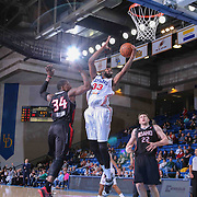 Delaware 87ers Forward Kenny Hall (33) drives towards the basket as Idaho Stampede Guard Jermaine Taylor (34) defends in the first half of a NBA D-league regular season basketball game between the Delaware 87ers and the Idaho Stampede (Utah Jazz) Tuesday, Feb. 03, 2015 at The Bob Carpenter Sports Convocation Center in Newark, DEL