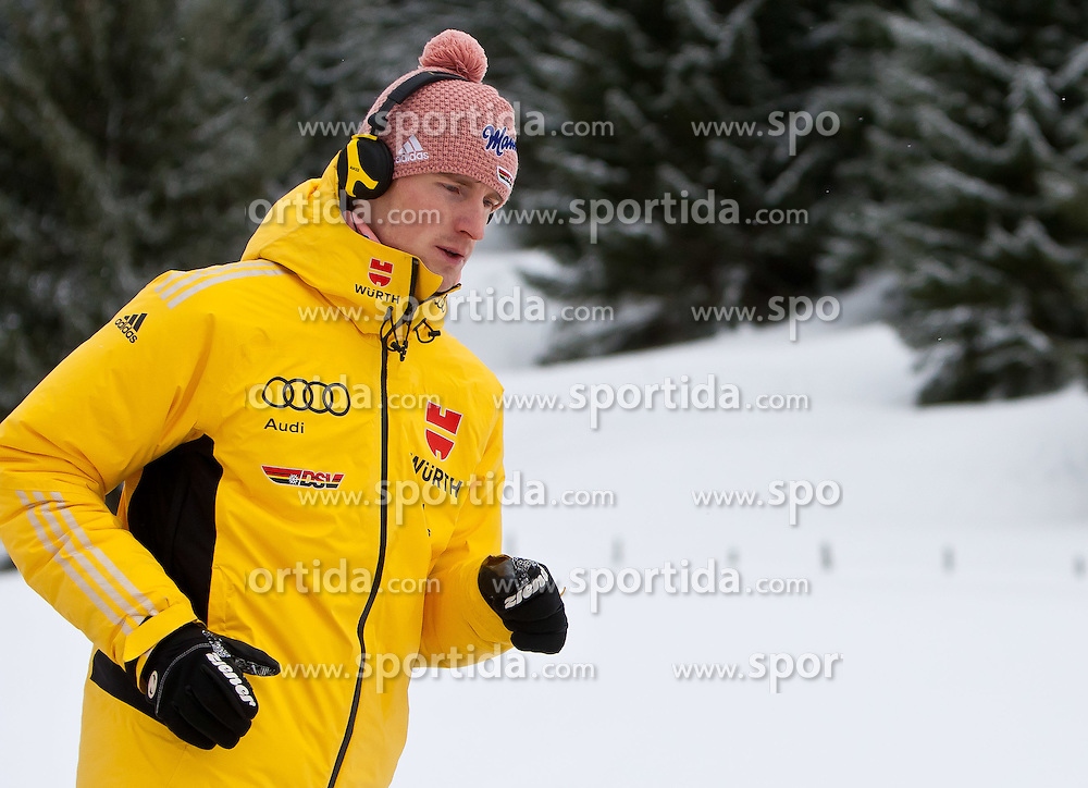 13.01.2012, Kulm, Bad Mitterndorf, AUT, FIS Ski Flug Weltcup, Probesprung, im Bild Severin Freund (GER) beim Aufwärmen // Severin Freund (GER) during warm-up during the Practice Jump of FIS Ski Flying World Cup at the 'Kulm', Bad Mitterndorf, Austria on 2012/01/13, EXPA Pictures © 2012, PhotoCredit: EXPA/ Juergen Feichter