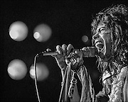 Steven Tyler performs with Aerosmith at the Honolulu International Center Arena in 1975.  The Honolulu International Center (HIC) has now been re-named the Neil S. Blaisdell Arena..©PF Bentley/PFPIX.com