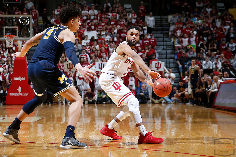 Indiana guard James Blackmon Jr. (1) in action as Michigan played Indiana in an NCCA college basketball game in Bloomington, Ind., Sunday, Feb. 12, 2017. (AJ Mast)