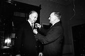 1966 - President Eamon de Valera receives the first 1916 Survivors Medal at Aras an Uachtarain