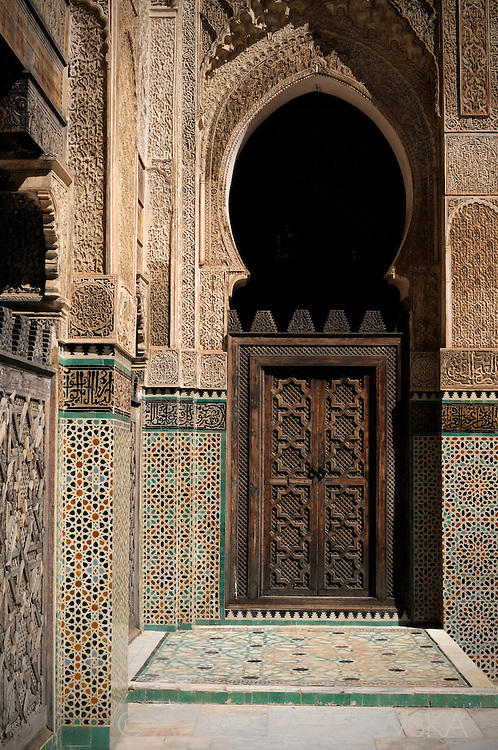 Morocco, Fez. Medersa Bou Inania - the finest of Fez's theological colleges.