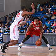 Delaware 87ers Forward SAM THOMPSON (12) attempts to guard Maine Red Claws Guard LEVI RANDOLPH (20) in the first half of a NBA D-league regular season basketball game between the Delaware 87ers and the Maine Red Claws  Friday, Feb. 05, 2016 at The Bob Carpenter Sports Convocation Center in Newark, DEL.