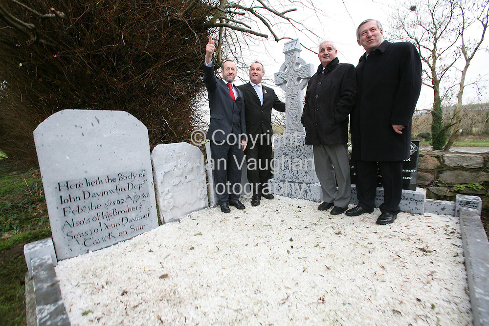 21/2/2007.Pictured yesterday at the unveiling of a mounment by the GAA on the Davin grave at Churchtown graveyard in Carrickbeg County Waterford was from left Sean Kelly former Preseident of the GAA, Nicky Brennan, President of The GAA, Paddy Buggy, former president of the GAA and Liam Muvihill, Árd Stiuathóir CLG..Picture Dylan Vaughan.