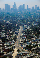 SUNSET BLVD 1998-2001 Sunset Blvd aerial view looking towards Downtown Los Angeles skyline ©Jonathan Alcorn
