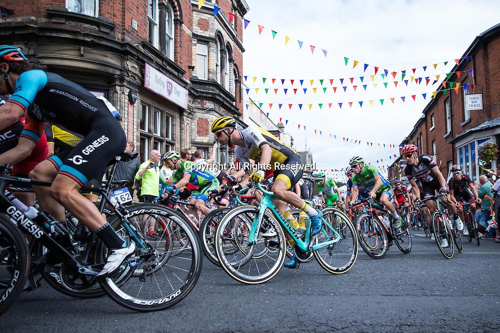 06.09.2016. Congleton Cheshire, England.  Tour of Britain, Stage 3, Congleton to Knutsford.  Madison Genesis rider Alexandre Blain and Team LottoNL Jumbo rider Bert-Jan Lindeman.