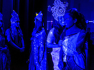 San Jose, California: Students at Mount Madonna School, rehearse for a stage production of the Ramayana. Associated with a yoga center inspired by a silent monk and guru from India, the school has been performing the Indian epic annually since 1979.