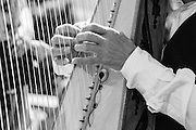 A harpist plays on the steps of the Sacre Coeur, Paris. His hands are mirrored in this stroke