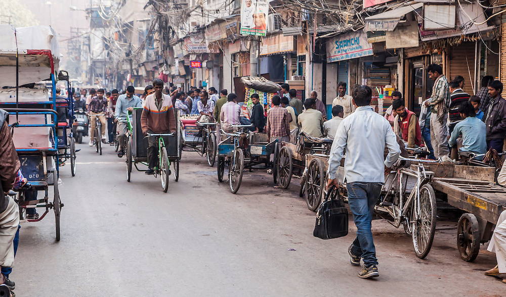 A street scene in Chandni Chowk, one of the oldest and busiest markets in Delhi, India.