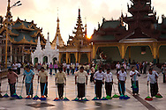 In the end of the day an army of cleaning staff sweep the entire grounds of the  Shwedagon Pagoda, the Golden Pagoda is the most sacret pagoda in Myanmar, Yangon, Burma.<br />