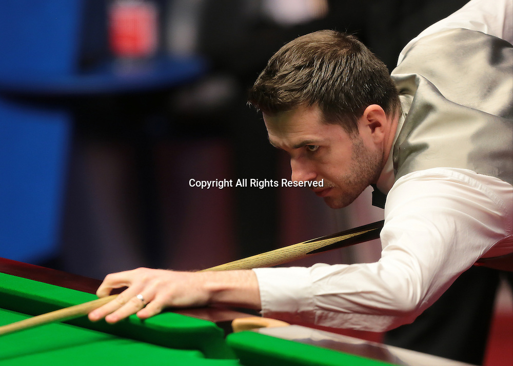 30.04.2016. The Crucible, Sheffield, England. World Snooker Championship. Semi Final, Mark Selby versus Marco Fu.  Mark Selby at the table
