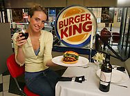 Burger King unveils its limited edition burger, at £95 the world's most expensive burger at Burger King Gloucester Road in London. Ingredients include: flame grilled Wagyu beef, white truffel, iranian saffron and white truffel dusted bun, Pata Negra slices, Cristal champagne onion straws, Modena Balsamic vinegar, Lambs lettuce, Pink Himalayan rock salt, organic white wine and shallot infused mayonnaise. The burger was served to customer Flo Karat by Jannat Uzueva. .