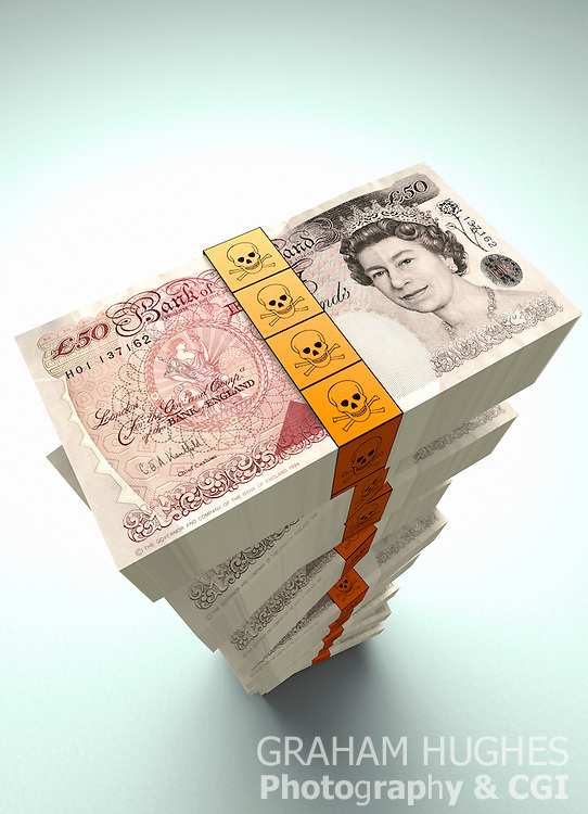 Large pile of British £50 pound bank notes with skull and crossed bones money ties.