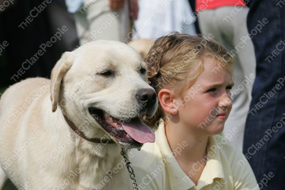 Alice Akers, from Bodyke Co.Clare pictured with her Dog Tobie at the Scarriff Agriculture Show in Scarriff Co. Clare.<br /> Pic.Brian Gavin/Press 22