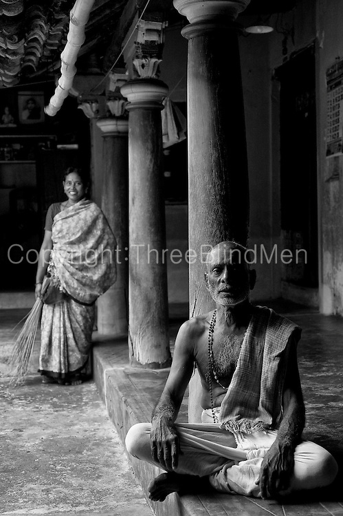 A neighbour, Mr. N. Kungidhapatham seated in the courtyard of Home of Mr. K. Sethumadhavan. Subramanium Baradiya Street, Karaikal, Puducherry.