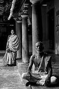 A neighbour, Mr. N. Kungidhapatham seated in the courtyard of Home of Mr. K. Sethumadhavan. Subramanium Baradiya Street, Karaikal, Puducherry.
