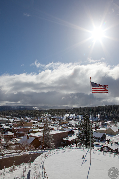 """""""American Flag over Truckee"""" - This American flag was photographed from the Rocking Stone in Downtown Truckee, CA."""