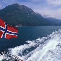 Europe, Norway. Ferry sails through Hardangerfjord near Bergen, Norway