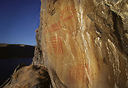 """Complex pictograph, estimated to be 2000 - 3000 years old in the Columbia River Gorge National Scenic Area. Native people who live in the area refer to the creators of the rock art in the Columbia River area as the """"River People"""". Much of the original rock art in the area has been flooded by hydro projects or vandalized, but there remain some prinstine examples in out of the way areas."""