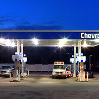 Chevron Station in an urban setting