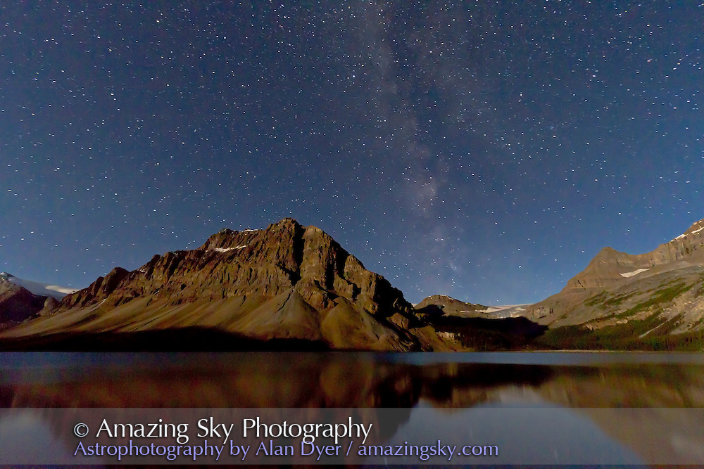 Bow Lake, looking west, Banff National Park, on August 20, 2011. This is a single exposure of 40 seconds at ISO 1000, with the Canon 7D and 10-22mm lens at 10mm and f/4.5. Light is from the last quarter Moon off frame. This is one frame of 454 taken as part of a time-lapse sequence.
