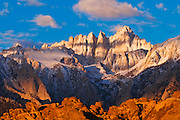 Dawn light on Mount Whitney from the Alabama Hills, Sequoia National Park, California