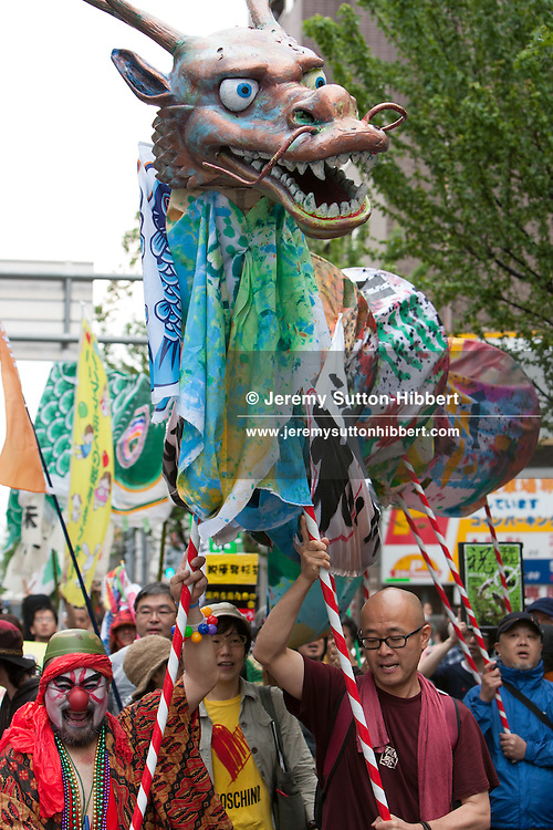 A 'Zero Nuclear Power Celebration Parade', in the Suginami district of Tokyo, Japan on Sunday 6th May 2012. The rally was held to make the first day of a nuclear free Japan, after the Tomari Nuclear Plant was taken offline on the evening of Saturday 5th May.
