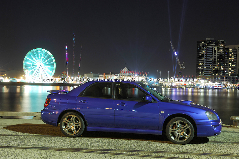 2004 MY05 Subaru Impreza WRX - World Rally Blue <br /> Shot on location in Port Melbourne, Victoria<br /> 24th March 2006<br /> (C) Joel Strickland Photographics.