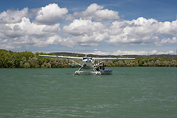 A float plane meets charter boat Odyssey at Red Cone Creek on the Kimberley coast.