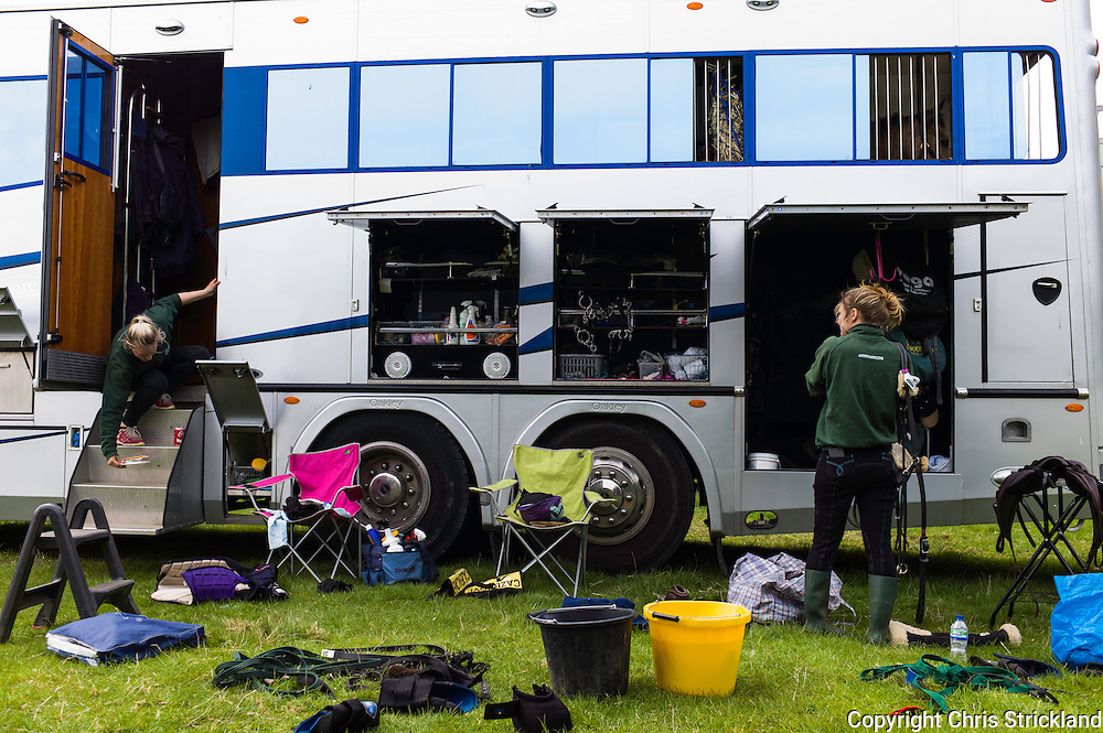 Floors Castle, Kelso, Roxburghshire, UK. 15th May 2015. The Hope families eventing yard groom Romie Bettison from Oxfordshire hard at work during the Floors Castle International Horse Trials.