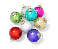 A group of 8 classic glass Christmas ornaments photographed on a white background.